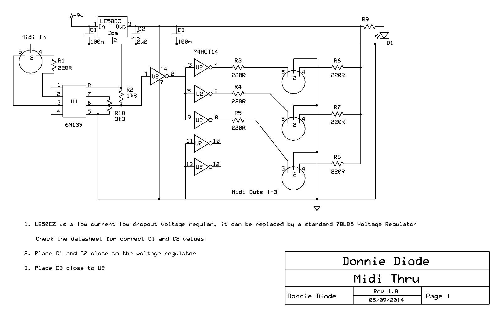 Midi Thru Schematic Schematics Wiring Diagrams Usb Diagram Power Donnie Diode Rh Donniediode Com Pinout To
